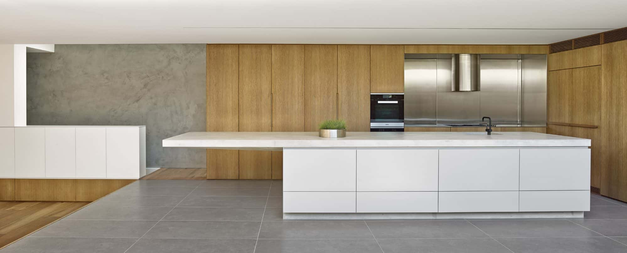 Birchgrove Kitchen showing the concrete cantilever island