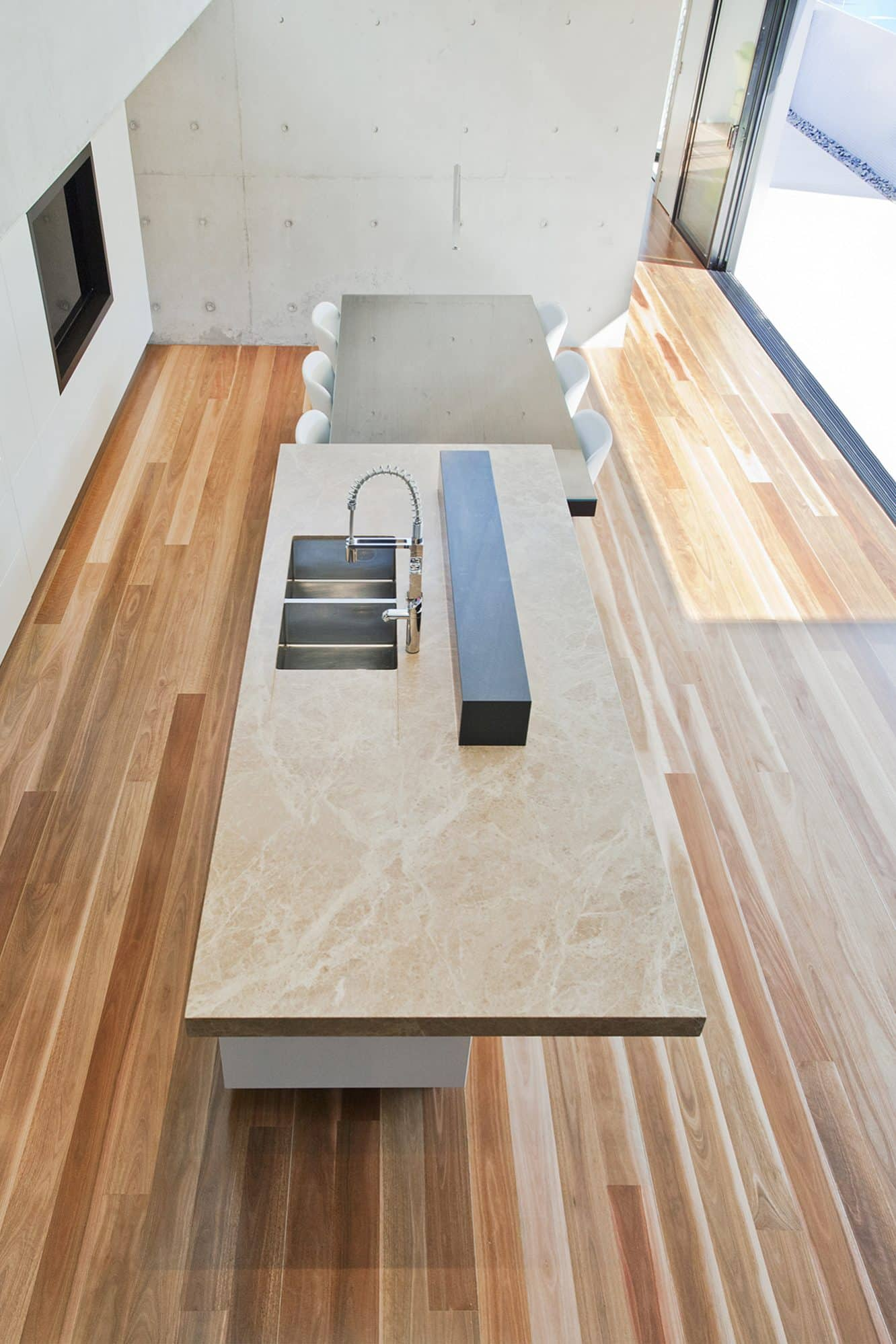 View of a kitchen benchtop from above