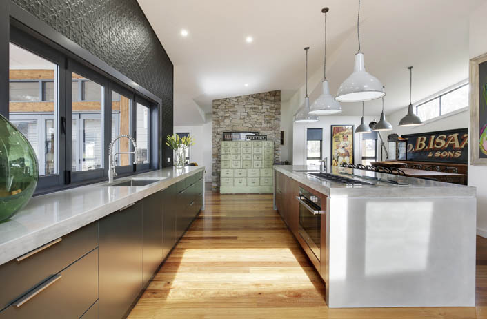 A truly unique industrial kitchen melding raw and eclectic elements