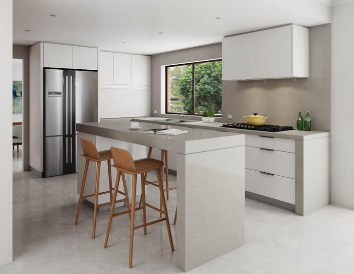 Engineered stone benchtop kitchen
