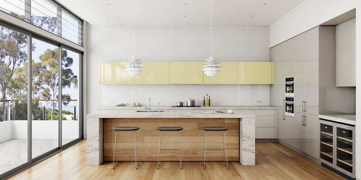 A kitchen with a Kashmir White benchtop