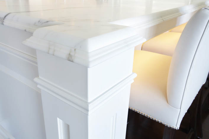 Detailed marble benchtop showing edge profile