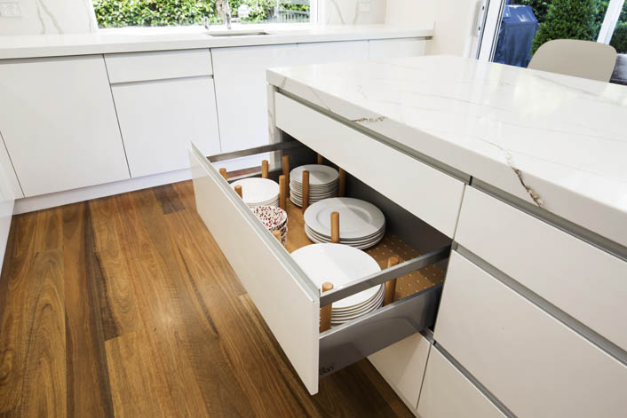Additions like beech drawer organisers add a sense of luxury