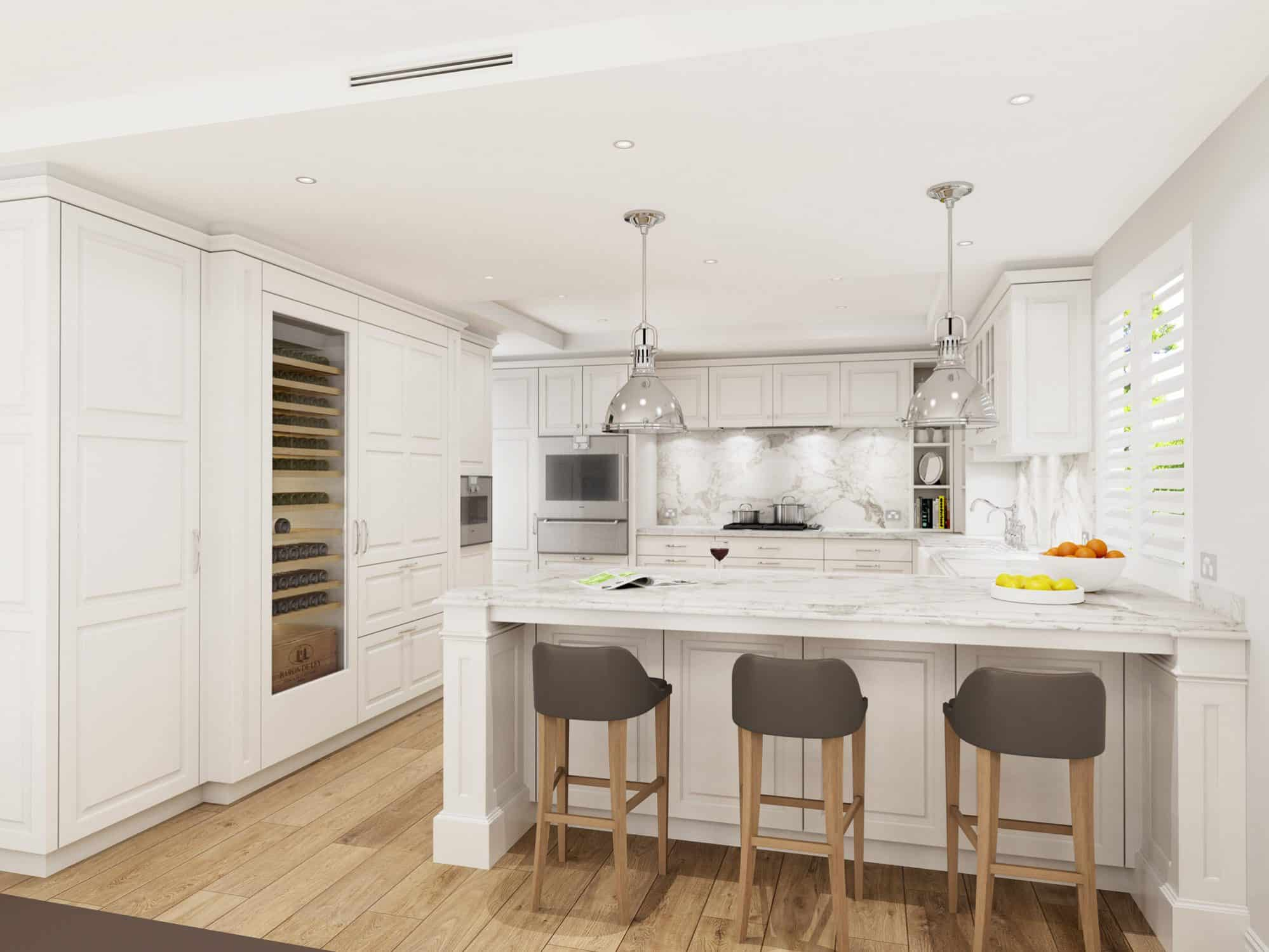 Hamptons kitchen with white doors and calacatta marble tops