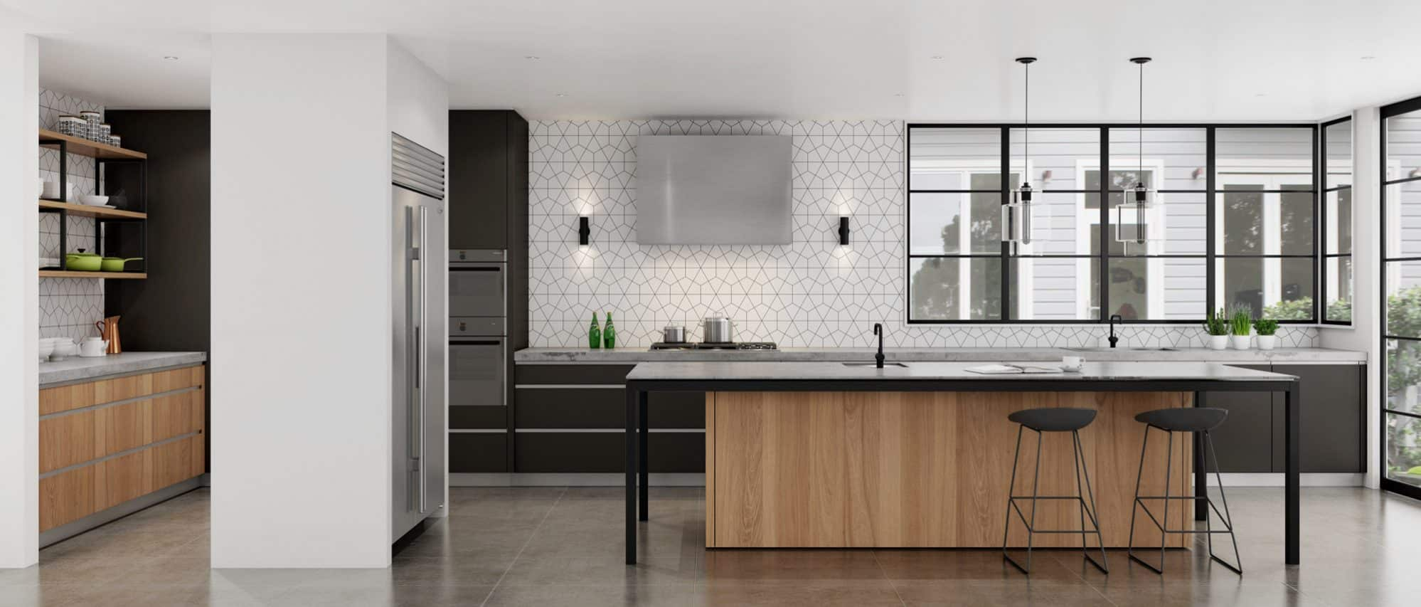 Modern Kitchen Design with black cabinets and timber veneer