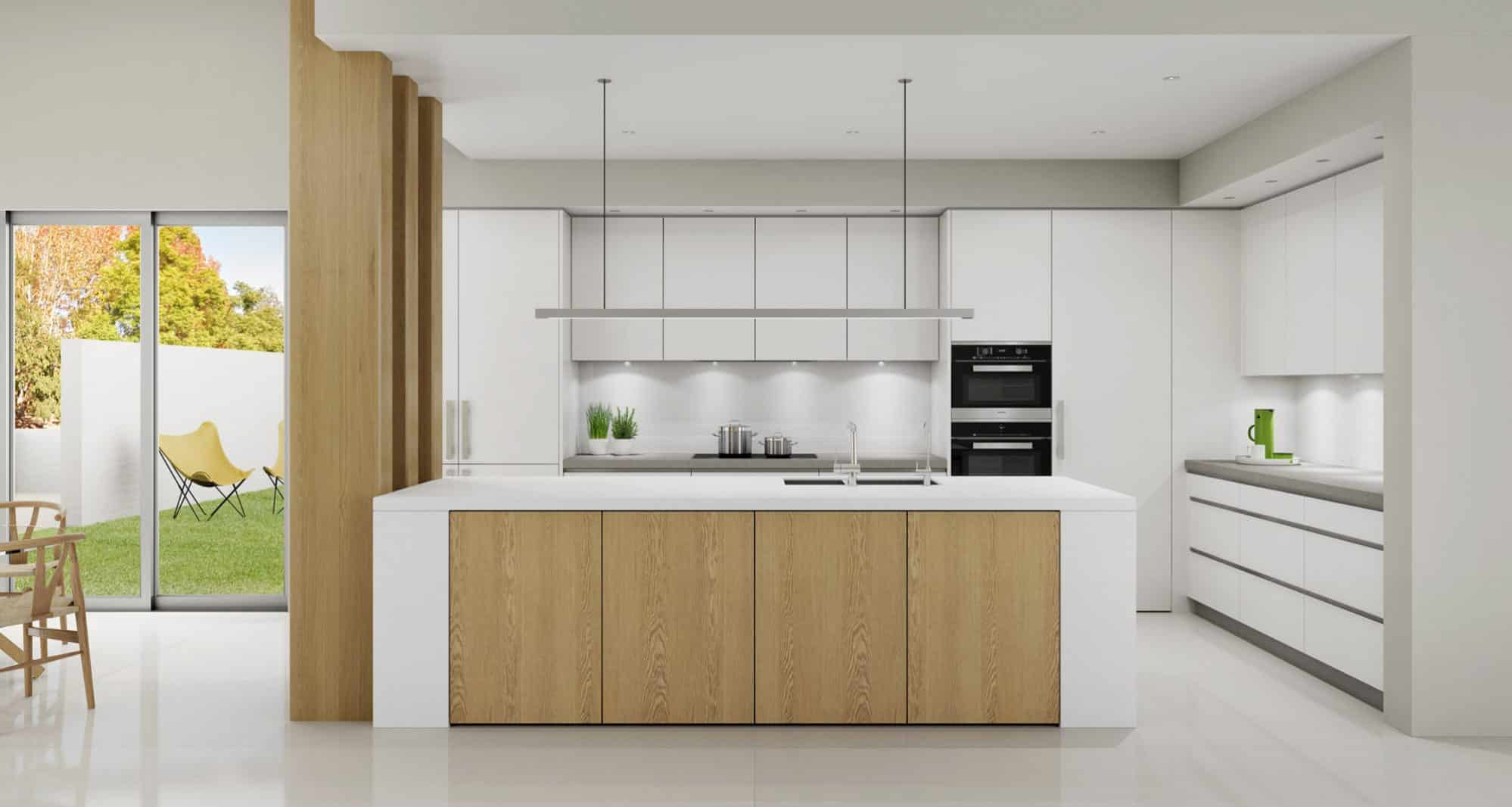 Classic white kitchen with american oak doors