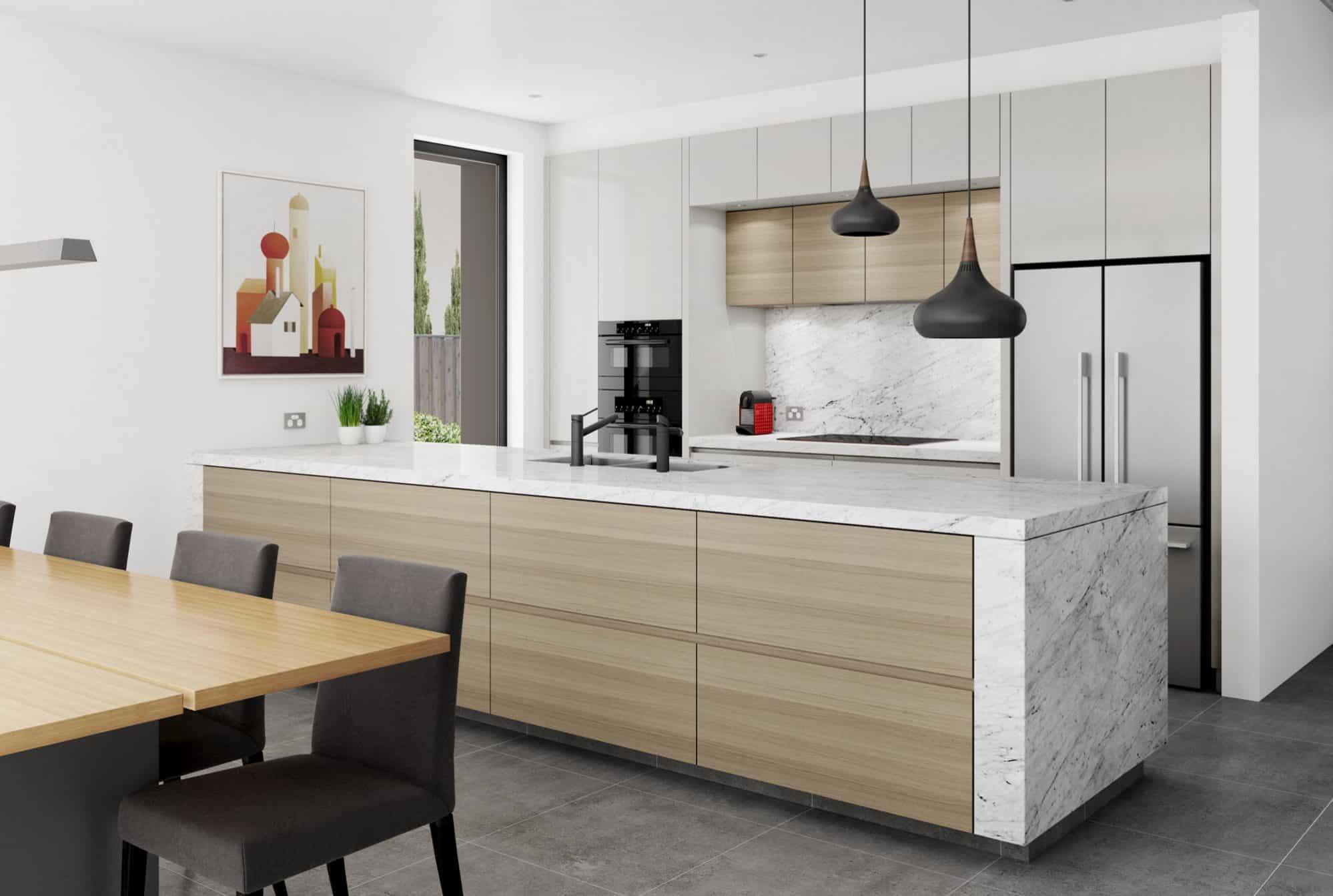 Light grey and timber kitchen with Carrara island