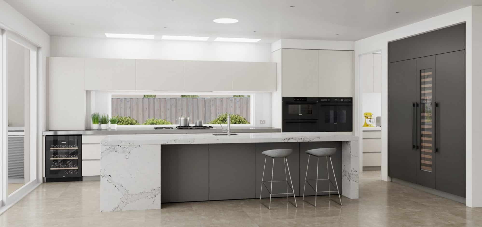 Large light and charcoal modern kitchen with scullery