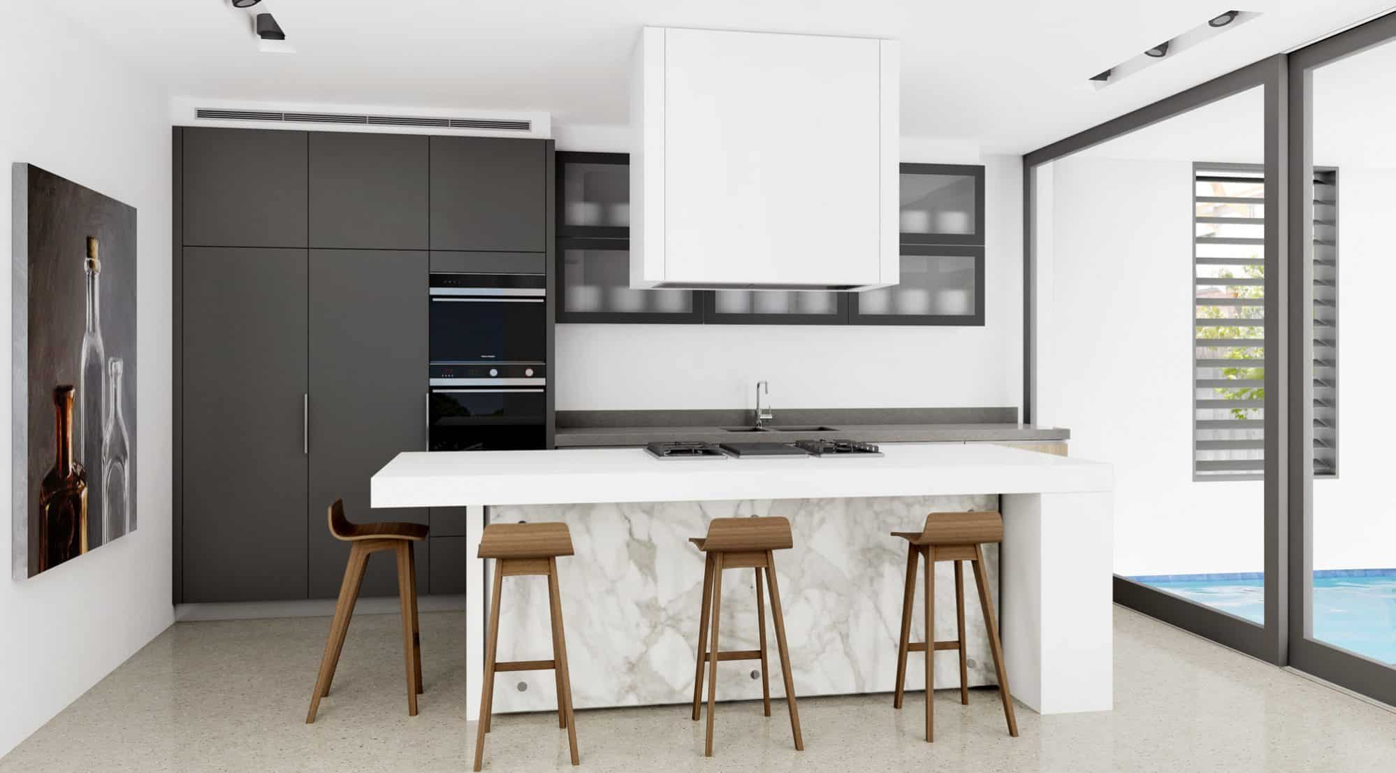 Grey kitchen with white cooktop island