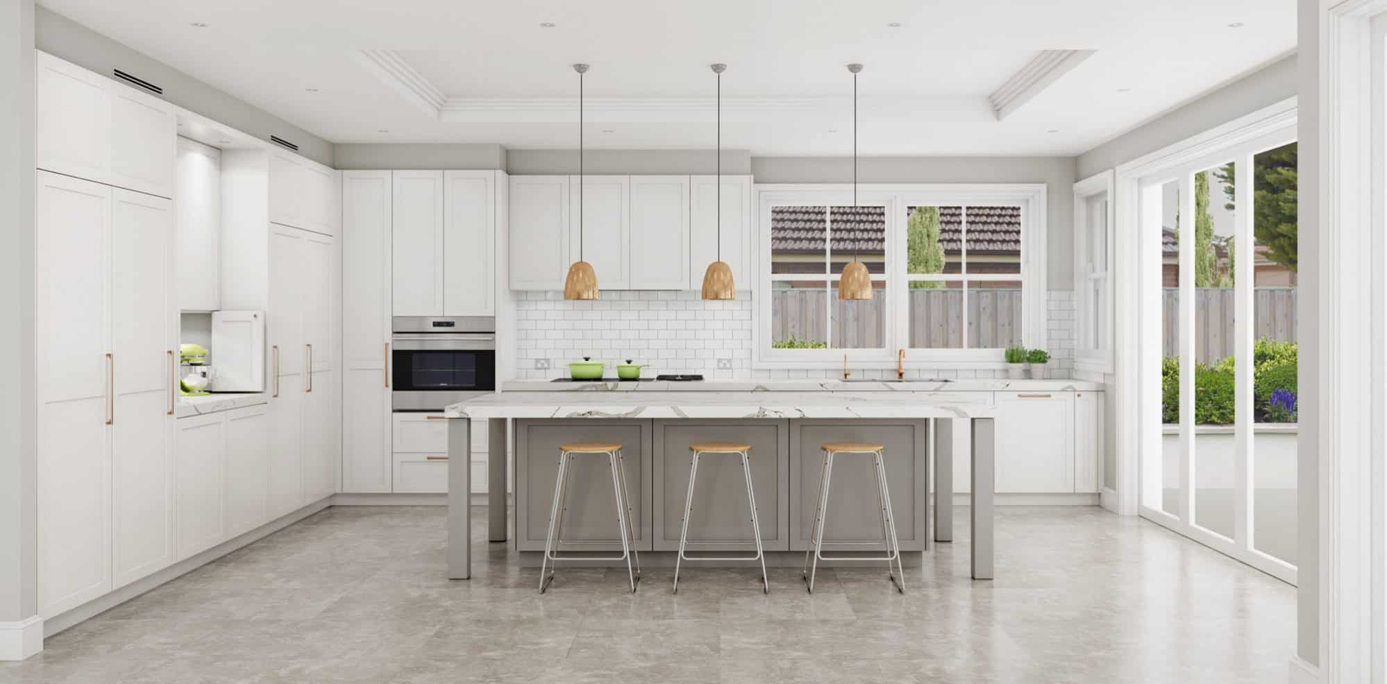 White shaker kitchen with marble island benchtop
