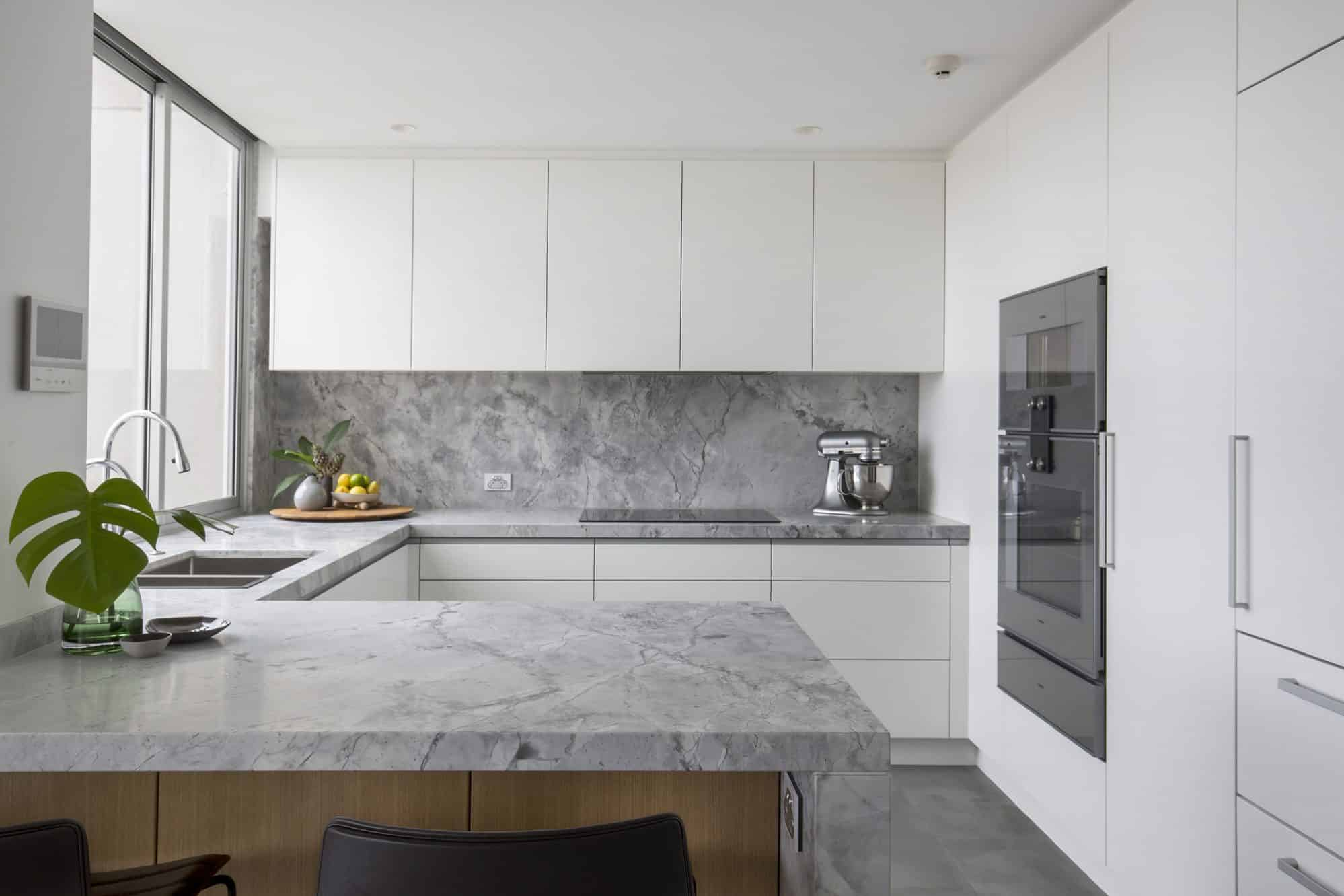 Dolamite granite slabs are used throughout this apartment kitchen