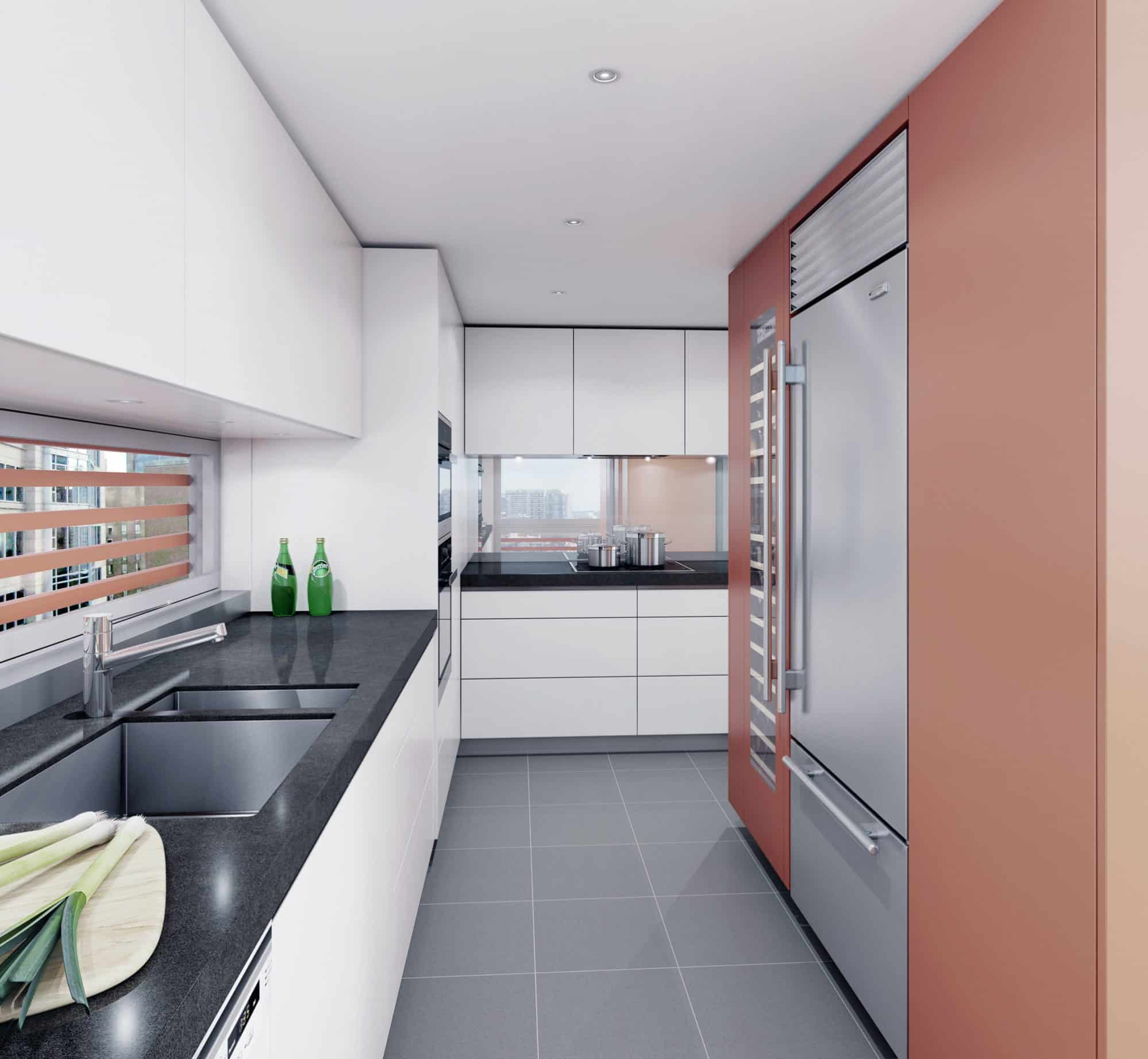 The design of the kitchen