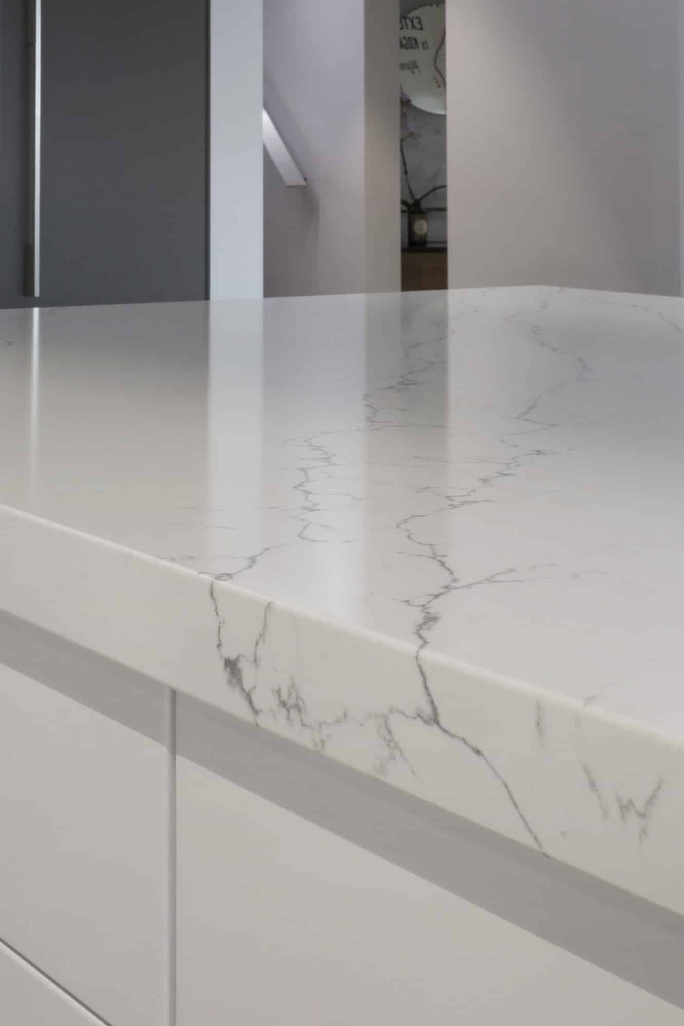 The marble veining on the island benchtop
