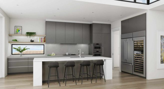 Tall grey kitchen with grey miele appliances, stainless steel Sub-Zero refrigerator and wine storage and a chunky white island
