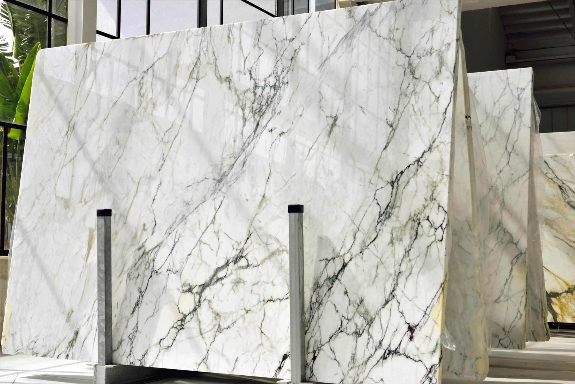 Natural marble stone slabs in a warehouse