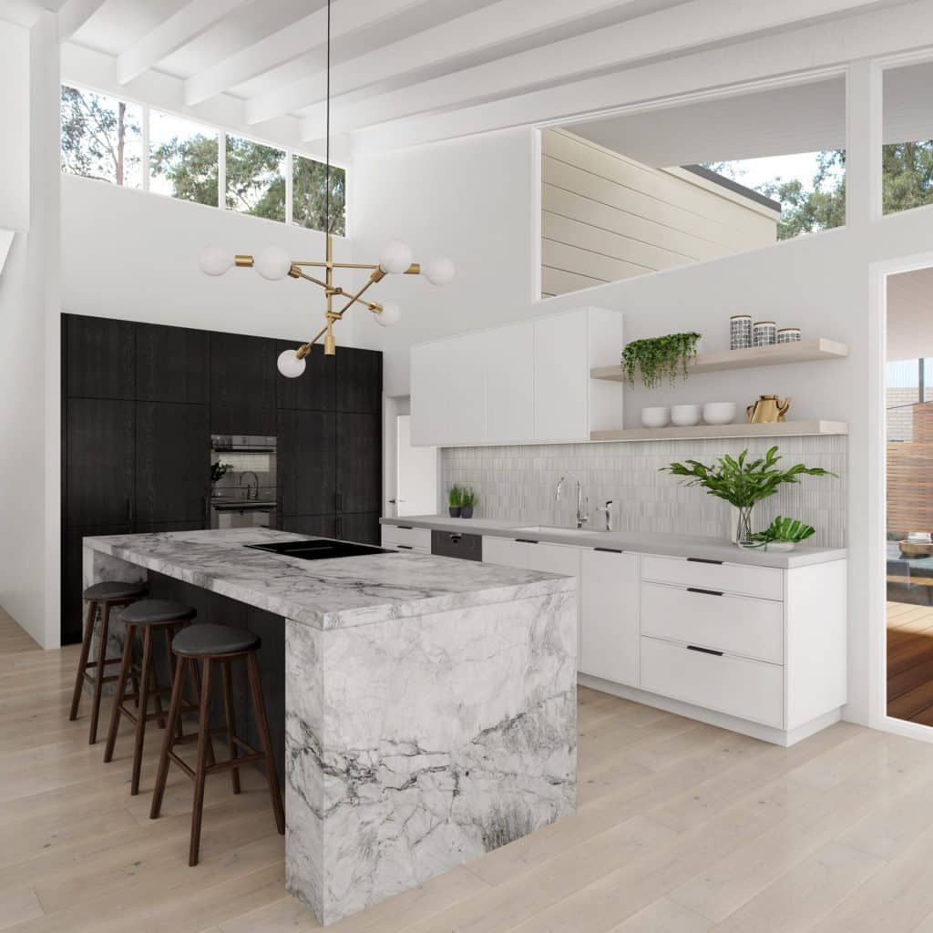 Light and airy kitchen featuring Super White Granite.